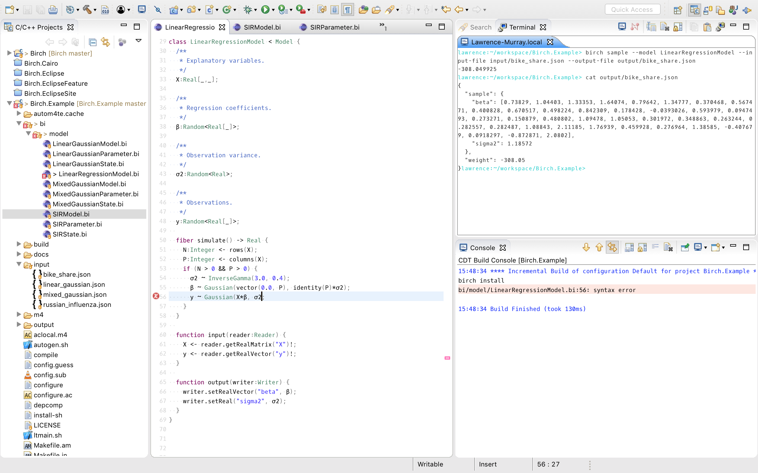 Screenshot of Eclipse on macOS with syntax highlighting for Birch source files and terminal for running Birch commands.
